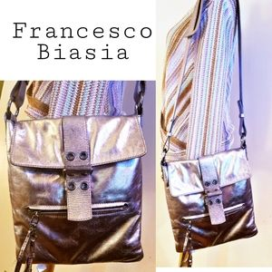 Francesco Biasia silver nappa leather crossbody
